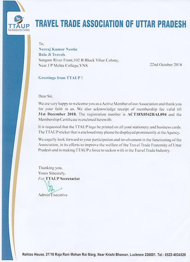 TTAUP certificate approval - best agency in varanasi